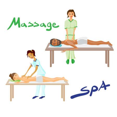 mimos: Conjunto de ilustración vectorial de la mujer y el hombre se cuida en exceso por disfrutar de masajes día de spa, masaje de espalda, salón de bienestar, el fondo aislado