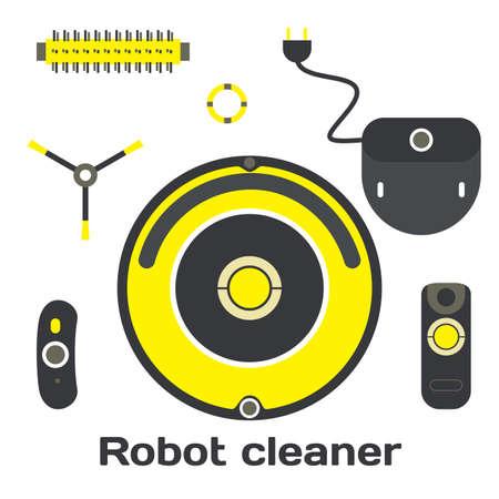 Robotic vacuum cleaner flat design. Vector set robot cleaner elements