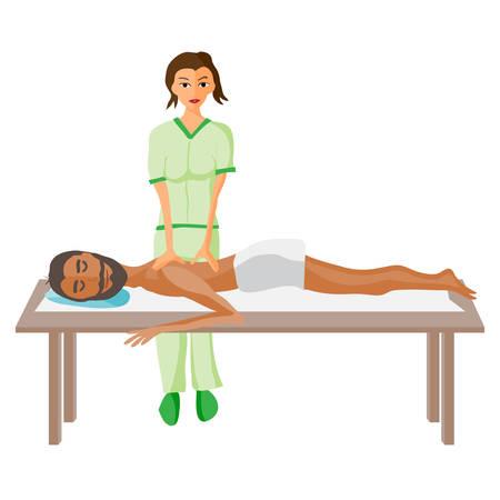 mimos: ilustración vectorial del hombre se cuida en exceso por disfrutar de masajes día de spa, masaje de espalda, salón de la salud en Tailandia, el fondo aislado