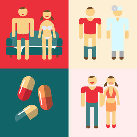 sexual health: Impotence action steps for the treatment. Vector illustration. Impotence problems concept. Manifestation of impotence treatment to doctor. Doctor Urologist professional. Medical pills icon