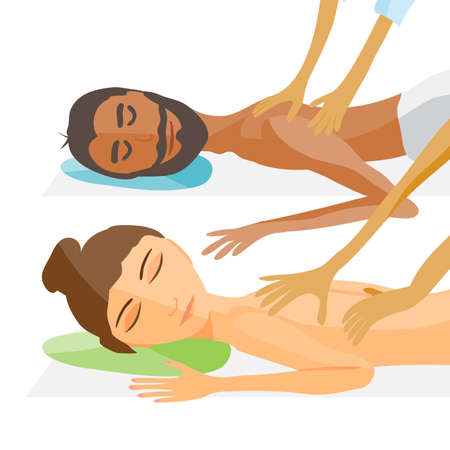 masseur: vector illustration of woman and man pampering herself by enjoying day spa massage, back massage, wellness salon Illustration