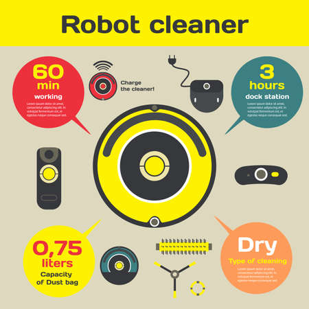 dry cleaner: Robotic vacuum cleaner flat design. Vector infographic. Set robot cleaner elements