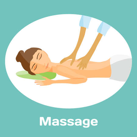 masseur: vector illustration of woman pampering herself by enjoying day spa massage, back massage, wellness salon in thailand, background with space for text