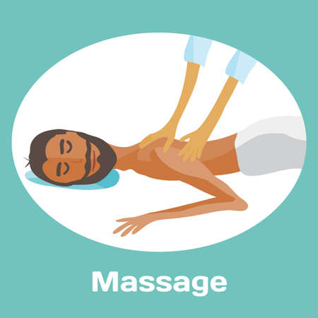 masseur: vector illustration of man pampering herself by enjoying day spa massage, back massage, wellness salon in thailand, background with space for text