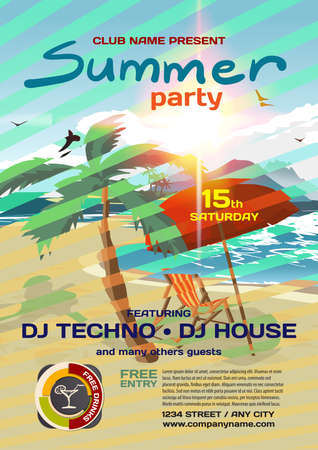 sensation: Vector summer party invitation techno style. Umbrella, palm tree and lounge on a beach in summer to posters, invitations or flyers. Vector template flat summer party poster.