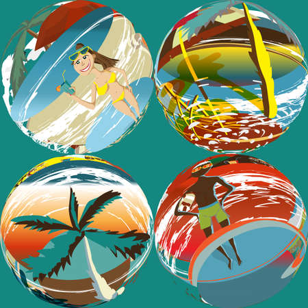 bathing suits: Abstract textile seamless pattern of colorful beach, palm tree, umbrellas, people in bathing suits. Vector color illustration