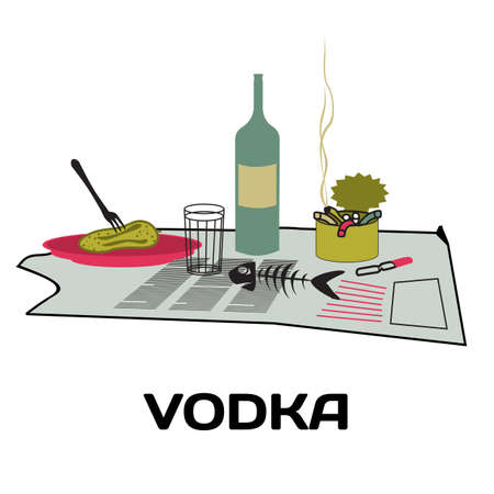 cartoon bottle: Bottle of vodka, snack, ashtray on an old newspaper. Alcoholism and binge drinking Homeless drinking alcohol on street. Flat mockup vector illustration with place for text