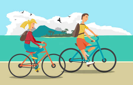 pedaling: Young woman and man ride the bike on the beach. Healthy leisure and freedom riding bike. Woman and man with backpacks pedaling on summer time. Sea shore in summer time. Flat vector color illustration