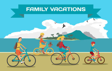 sea shore: Family ride the bike on the beach. Healthy leisure and freedom riding bike. Man, woman, boy and girl pedaling on summer time. Sea shore in summer time vacation. Flat vector color illustration