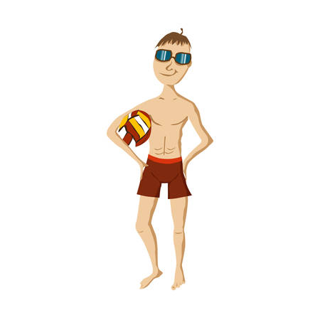 sunglasses recreation: Man in a swimsuit on the beach with a volleyball in hand. Man on summer beach with volleyball on white background. Flat Design Vector Illustration Illustration