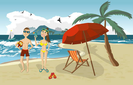 swimsuit: Sea landscape summer beach, palm tree, sun umbrellas, beach beds. Couple, man and woman in swimsuit on background seascape with island and yacht. Couple summer beach. Vector flat illustration