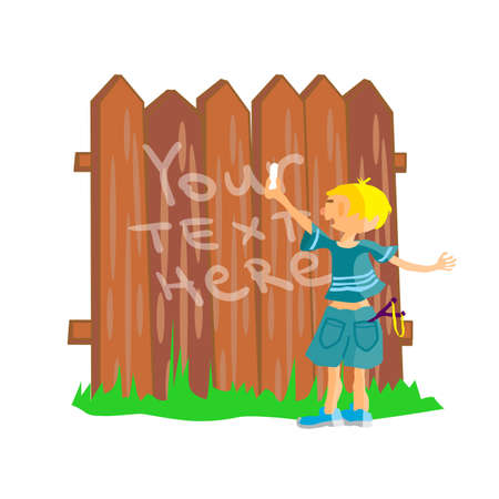 mischief: Bully boy writes chalk on fence. Kid stands near the fence. Bully boy writes text on brown fence. Education in Primary School. Hooliganism and mischief. Flat vector illustration with space for text