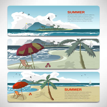 sunset beach: Set Of summer template banners gift cards. Branding design for travel agency. Vacation theme for gift card design. Summer beach with umbrellas, bed beach, island and yacht with place for text Illustration