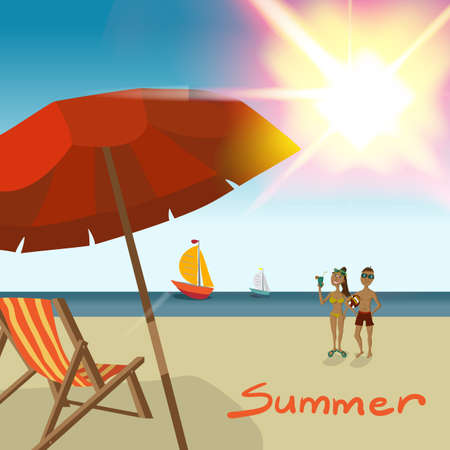 hot couple: Background with sea landscape summer beach, sun umbrellas, beach beds. Couple, man and woman in swimsuit on background seascape and yacht on hot sun. Coupe summer beach. Vector flat illustration