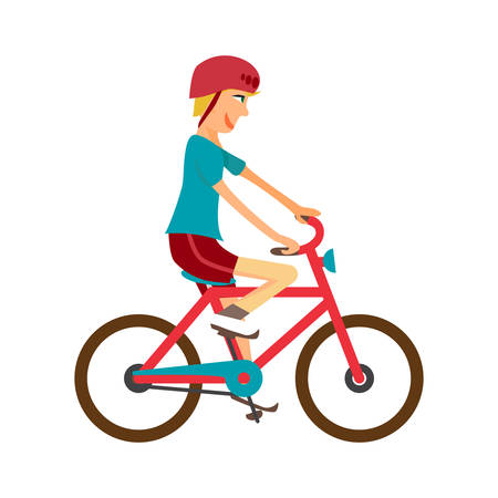 pedaling: Young boy rides red bike on isolated background. Kid healthy leisure rides bike. Boy in helmet pedaling on summer time. Flat vector color illustration Illustration
