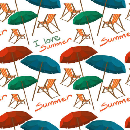foldable: Sea summer beach, sun umbrellas, beach beds seamless pattern white background. Umbrella and deskchair on a beach in summer day vacation. Vector flat textile seamless pattern