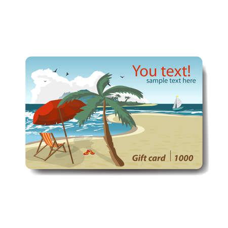 Carta regalo sconto estate vendita. Design del marchio per agenzia di viaggi. Tema di vacanza per la progettazione di carte regalo. Spiaggia estiva con ombrelloni, isola e yacht.