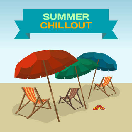 chillout: Background with sea landscape summer beach, sun umbrellas, beach beds. Umbrellas and deskchair on a beach in summer day vacation. Frame with inscription summer chillout. Vector flat illustration