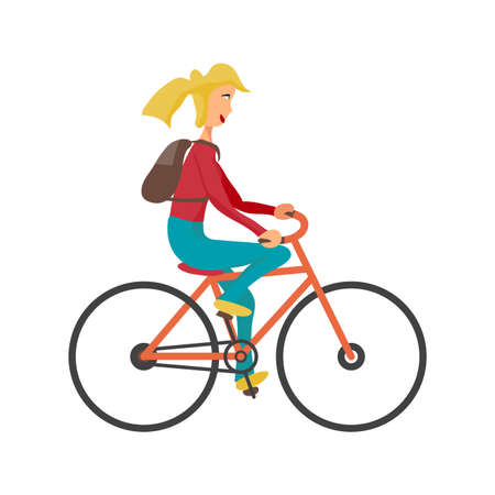 pedaling: Young woman rides red bike on isolated background. Girl healthy leisure rides bike. Hipster girl with rucksack pedaling on summer time. Flat vector color illustration Illustration