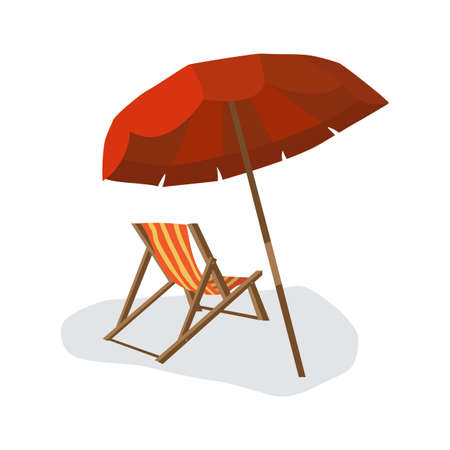 foldable: Sea summer beach, sun umbrellas, beach beds isolated with shadow on white background. Umbrella and deskchair on a beach in summer day vacation. Vector flat illustration
