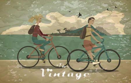 Junge Frau und Mann reiten das Fahrrad am Strand Vintage-Stil verblasst. Gesunde Freizeit und Freiheit Fahrrad fahren. Frau und Mann mit Rucksäcken auf Sommerzeit zu treten. Flache Vektor Farbe Illustration