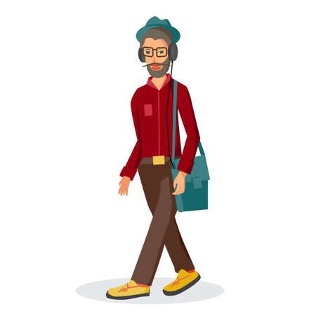 lover: Vector modern flat design hipster wearing headphones listening music. Cartoon character of music lover enjoying his favorite track. Music lover hipster walking in the street with headphones Illustration