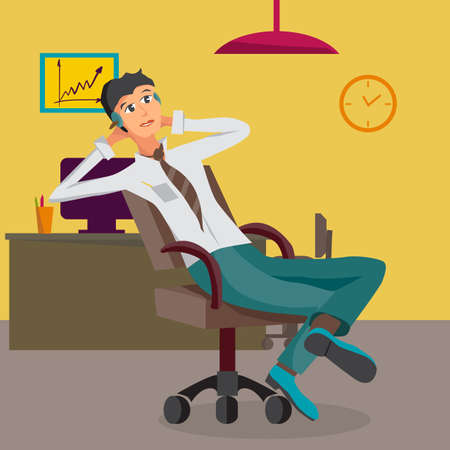 lover: Vector modern flat design businessman wearing headphones listening music. Cartoon character of music lover enjoying his favorite track. Music lover businessman listening to music in office