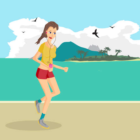 lover: Vector modern flat design woman wearing headphones listening music. Cartoon character of music lover enjoying his favorite track. Music lover woman listening to music and playing sports runs on beach
