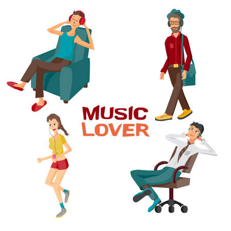 lovers: Vector modern flat design people wearing headphones listening music. Cartoon character of music lovers enjoying his favorite track. Music lovers in different situations: home, office, street Illustration