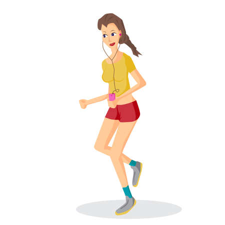lover: Vector modern flat design woman wearing headphones listening music. Cartoon character of music lover enjoying his favorite track. Music lover woman listening to music and playing sports, jogging run Illustration