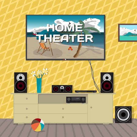subwoofer: Home cinema system in interior room. Home theater flat illustration. TV, loudspeakers, player, receiver, subwoofer for home movie theater and music in the apartment