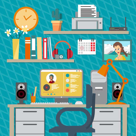 speakers desk: Flat modern design illustration concept of home workspace, workplace, desktop. Home work flow items, essentials, things, equipment, elements, objects, development tools. Room interior Illustration