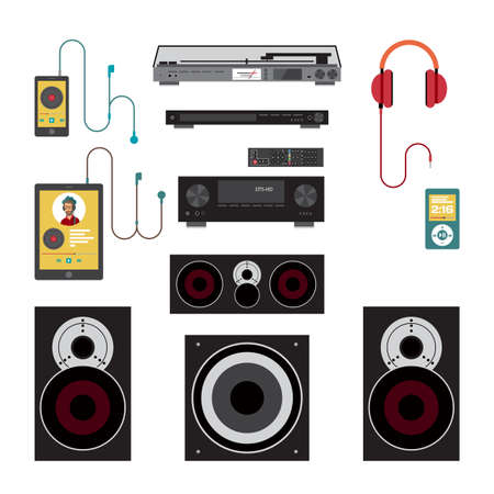 subwoofer: Home sound system. Home stereo flat illustration for music lovers. Loudspeakers, player, receiver, subwoofer, remote, vinyl, smartphone, tablet, headphones for listening to music