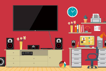 subwoofer: Home cinema system and workplace in interior room. Home theater flat illustration. TV, loudspeakers, computer, player, receiver, subwoofer for home movie theater and music in the apartment Illustration