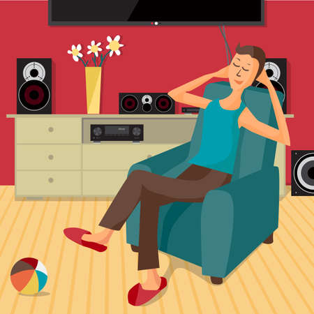 listening: modern flat design man listens to music at home using a stereo system. Cartoon character of music lover. Music lover man listens to music with stereo system while sitting in chair