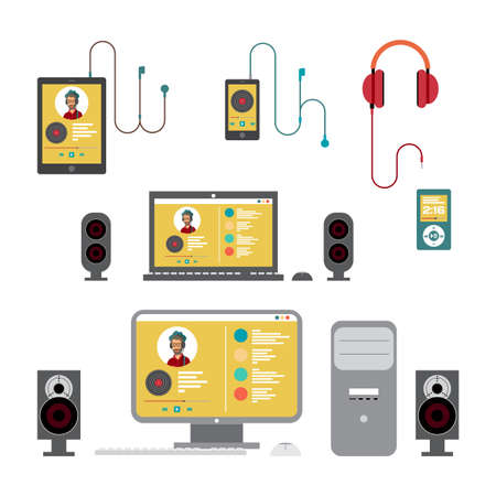 sound system: Home sound system. Home stereo on home computer flat illustration for music lovers. Loudspeakers, player, computer, laptop, smartphone, tablet, headphones for listening to music