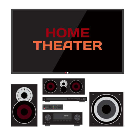 subwoofer: Home cinema system. Home theater flat illustration. TV, loudspeakers, player, receiver, subwoofer, remote for home movie theater and music Illustration