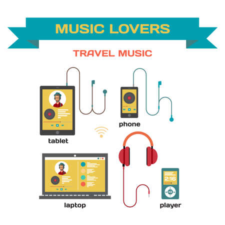 music listening: Music system for music listening with gadgets flat design. Use of traveling laptop, smartphone, tablet and player with headphones. Music for travel and for music lovers