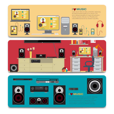 home cinema: Music lover sale discount gift card. Branding design for music shop. Listening to music on outdoor theme for gift card design. Home cinema system in interior room and a separate music equipment