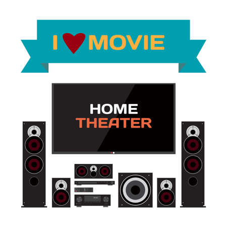 blueray: Home cinema system. Home theater flat vector illustration for music lovers and film fans. TV, loudspeakers, player, receiver, subwoofer for home movie theater and music Illustration