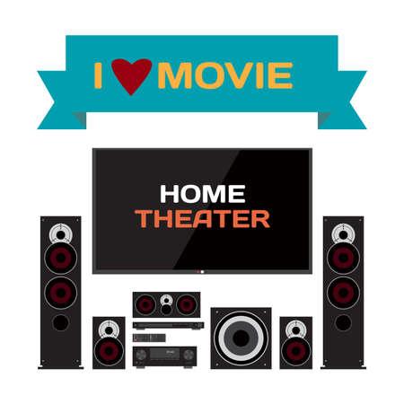 Sistema Home Cinema. illustrazione piatta vettore home theater per gli amanti della musica e appassionati di cinema. TV, altoparlanti, lettore, ricevitore, subwoofer per home cinema e musica Vettoriali