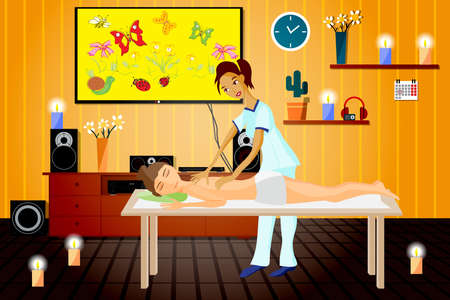 masseuse: Vector illustration of woman pampering herself by enjoying day spa massage, back massage, wellness salon in thailand, interior darkened with candles and home theater