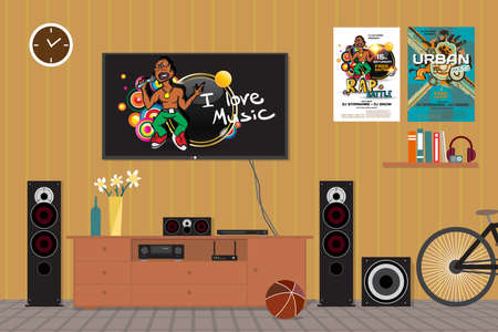subwoofer: Home cinema system in interior room with bike. Home theater flat vector illustration. TV, floor loudspeakers, player, receiver, subwoofer for home movie theater and music in the apartment