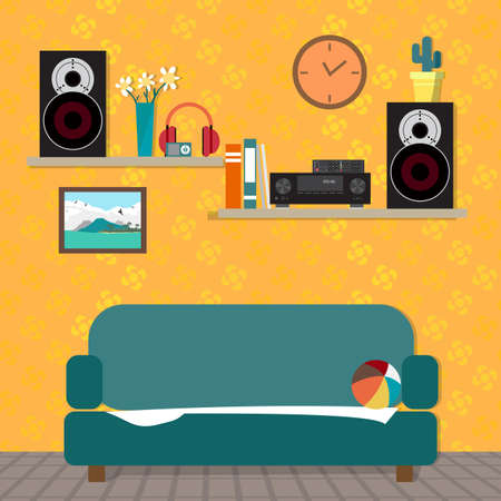 sound system: Home sound system in interior room. Home music flat vector illustration. Loudspeakers, player, receiver for home music lover in the apartment. Great place to relax on the sofa