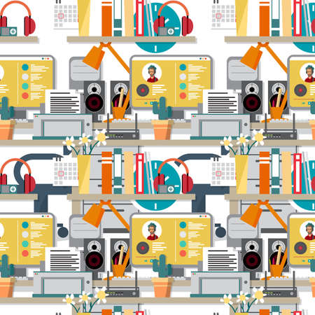 work flow: Seamless textile pattern with flat modern design vector concept of home workspace, workplace, desktop. Home work flow items, essentials, things. Interior womans room background Illustration