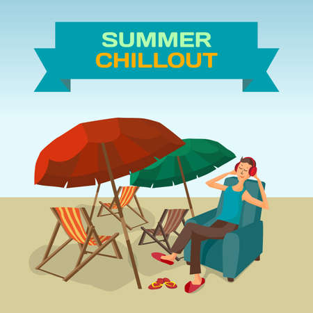 chillout: Background with sea landscape summer beach, sun umbrellas, beach beds. Music lover man listens to music with headphones while sitting in chair. Frame with summer chillout. Vector flat illustration Illustration