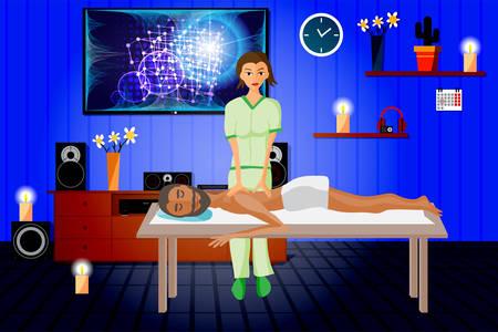 Vector illustratie van de mens vertroetelt door te genieten van dag spa massage, rug massage, wellness salon in thailand, interieur verduisterd met kaarsen en home theater Vector Illustratie