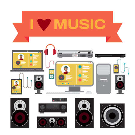 subwoofer: Home sound system. Home stereo flat vector illustration for music lovers. Loudspeakers, player, receiver, subwoofer, computer, remote, vinyl, smartphone, tablet, headphones for listening to music