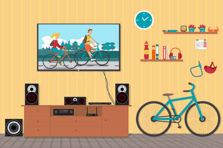 surround system: Home cinema system in interior room with bike. Home theater flat vector illustration. TV, loudspeakers, player, receiver, subwoofer for home movie theater and music in the apartment. Bi?ycle in room Illustration
