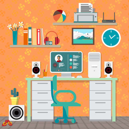 speakers desk: Flat modern design vector illustration concept of home workspace, workplace, desktop. Home work flow items, essentials, things, equipment, elements, objects, development tools. Interior womans room Illustration